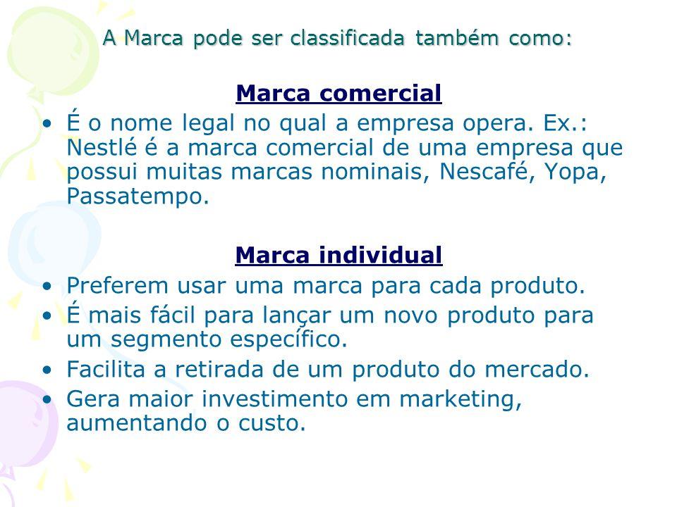 A Marca pode ser classificada também como: Marca comercial É o nome legal no qual a empresa opera.