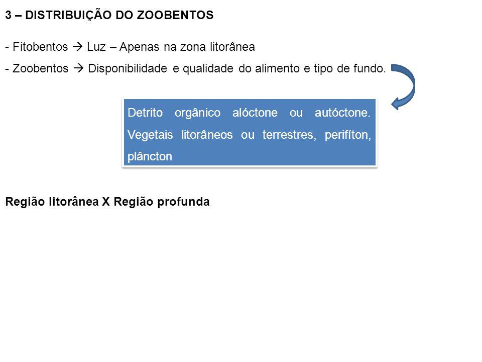 3 – DISTRIBUIÇÃO DO ZOOBENTOS - Fitobentos  Luz – Apenas na zona litorânea - Zoobentos  Disponibilidade e qualidade do alimento e tipo de fundo. Det
