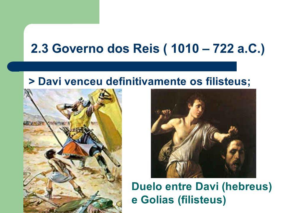 > Davi venceu definitivamente os filisteus; 2.3 Governo dos Reis ( 1010 – 722 a.C.) Duelo entre Davi (hebreus) e Golias (filisteus)