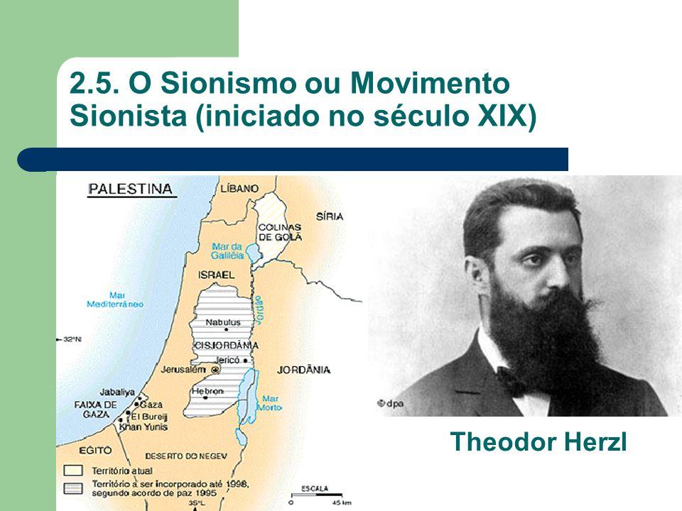 2.5. O Sionismo ou Movimento Sionista (iniciado no século XIX) Theodor Herzl