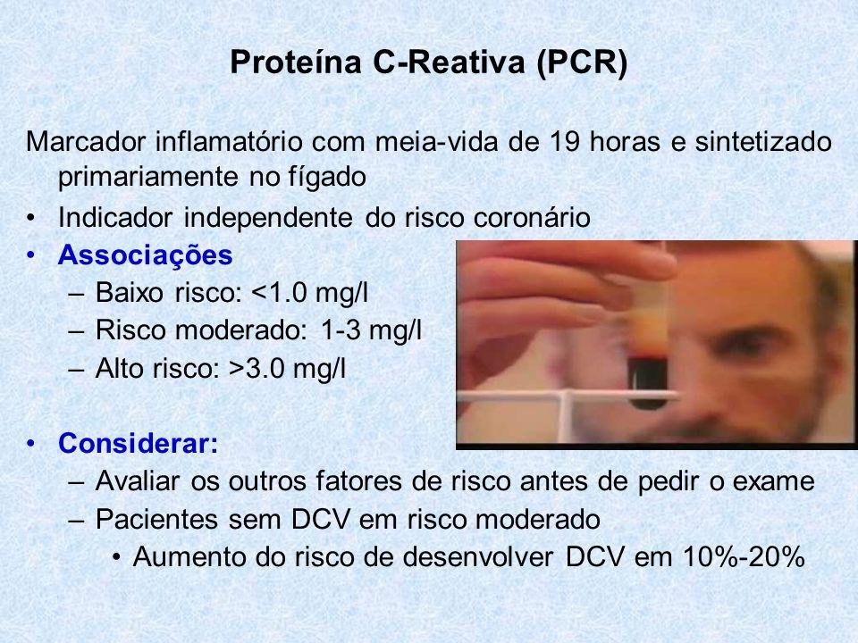 Proteína C-Reativa (PCR) Marcador inflamatório com meia-vida de 19 horas e sintetizado primariamente no fígado Indicador independente do risco coronário Associações –Baixo risco: <1.0 mg/l –Risco moderado: 1-3 mg/l –Alto risco: >3.0 mg/l Considerar: –Avaliar os outros fatores de risco antes de pedir o exame –Pacientes sem DCV em risco moderado Aumento do risco de desenvolver DCV em 10%-20%