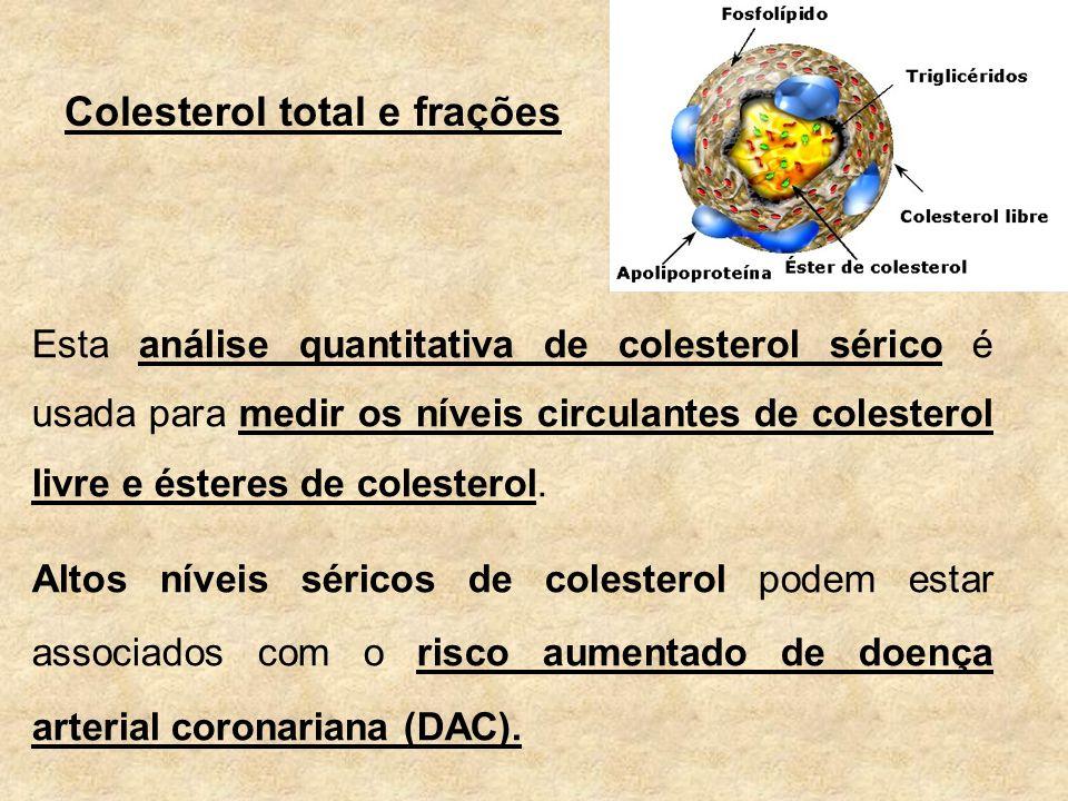 Colesterol total e frações Esta análise quantitativa de colesterol sérico é usada para medir os níveis circulantes de colesterol livre e ésteres de colesterol.