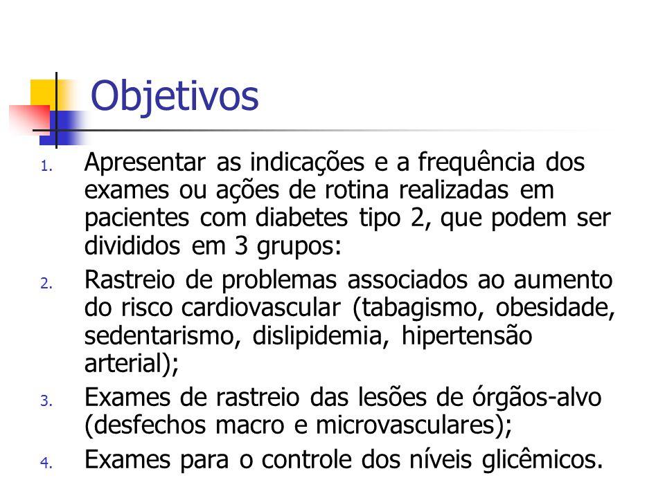 Objetivos 1. Apresentar as indicações e a frequência dos exames ou ações de rotina realizadas em pacientes com diabetes tipo 2, que podem ser dividido