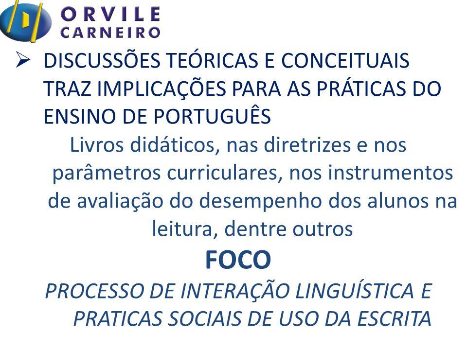  DISCUSSÕES TEÓRICAS E CONCEITUAIS TRAZ IMPLICAÇÕES PARA AS PRÁTICAS DO ENSINO DE PORTUGUÊS Livros didáticos, nas diretrizes e nos parâmetros curriculares, nos instrumentos de avaliação do desempenho dos alunos na leitura, dentre outros FOCO PROCESSO DE INTERAÇÃO LINGUÍSTICA E PRATICAS SOCIAIS DE USO DA ESCRITA
