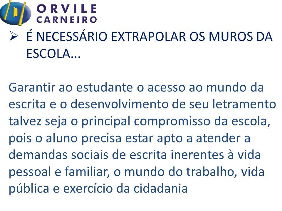  É NECESSÁRIO EXTRAPOLAR OS MUROS DA ESCOLA...