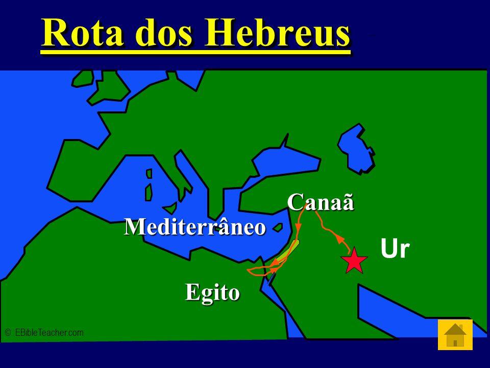 Abraham's Journey Rota dos Hebreus © EBibleTeacher.com Mediterrâneo Egito Canaã Ur