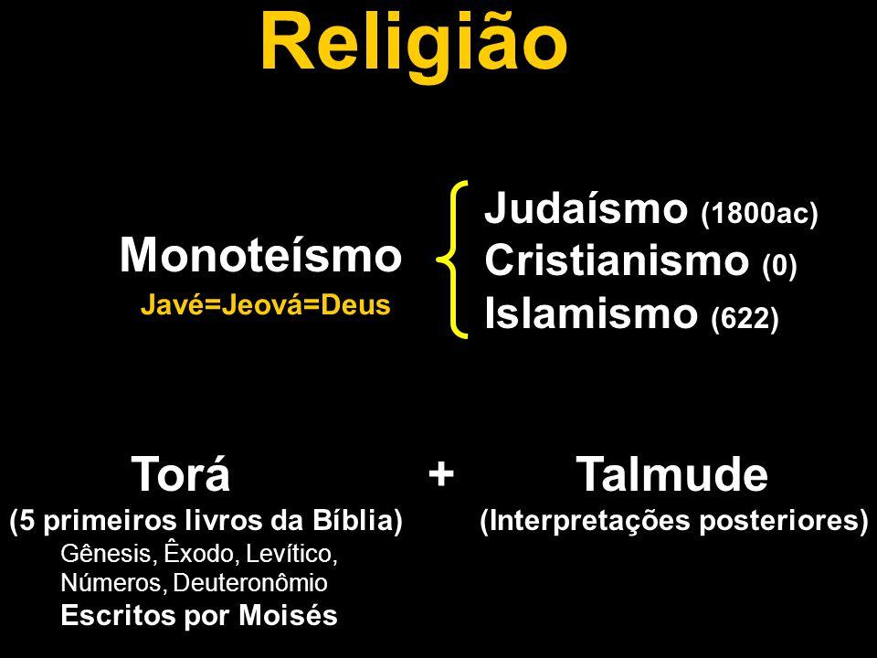 Religião Monoteísmo Judaísmo (1800ac) Cristianismo (0) Islamismo (622) Torá + Talmude (5 primeiros livros da Bíblia) (Interpretações posteriores) Javé=Jeová=Deus Gênesis, Êxodo, Levítico, Números, Deuteronômio Escritos por Moisés