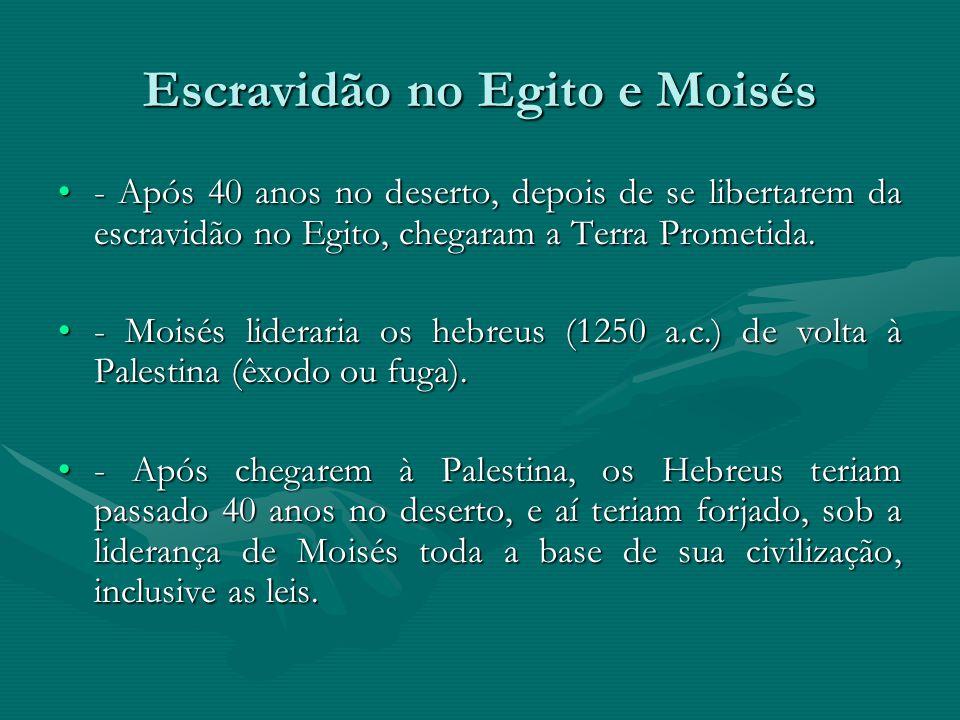 Escravidão no Egito e Moisés - Após 40 anos no deserto, depois de se libertarem da escravidão no Egito, chegaram a Terra Prometida.- Após 40 anos no d