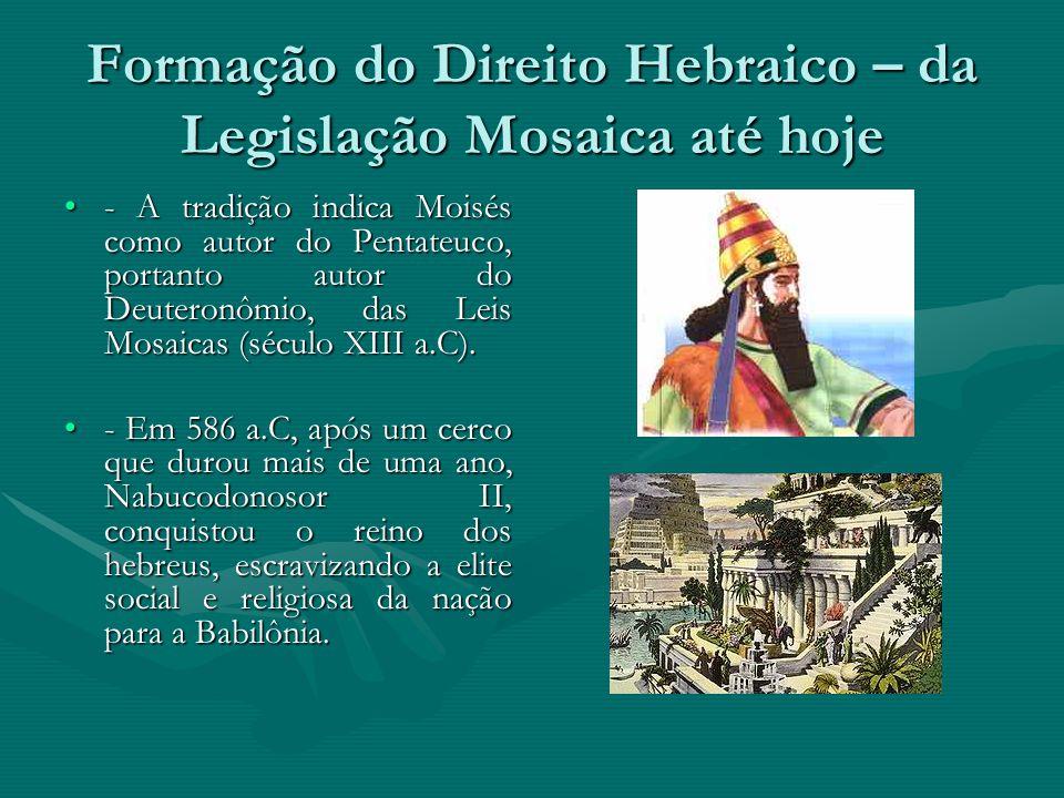 Formação do Direito Hebraico – da Legislação Mosaica até hoje - A tradição indica Moisés como autor do Pentateuco, portanto autor do Deuteronômio, das