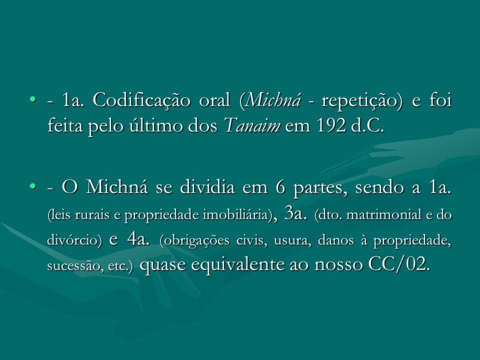 - 1a. Codificação oral (Michná - repetição) e foi feita pelo último dos Tanaim em 192 d.C.- 1a. Codificação oral (Michná - repetição) e foi feita pelo