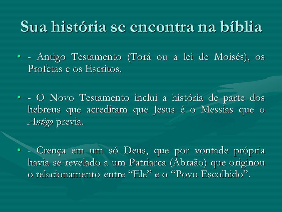 Sua história se encontra na bíblia - Antigo Testamento (Torá ou a lei de Moisés), os Profetas e os Escritos.- Antigo Testamento (Torá ou a lei de Mois