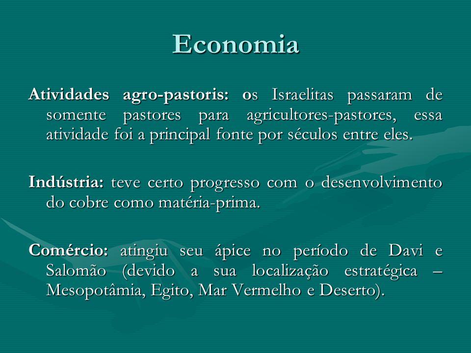 Economia Atividades agro-pastoris: os Israelitas passaram de somente pastores para agricultores-pastores, essa atividade foi a principal fonte por séc