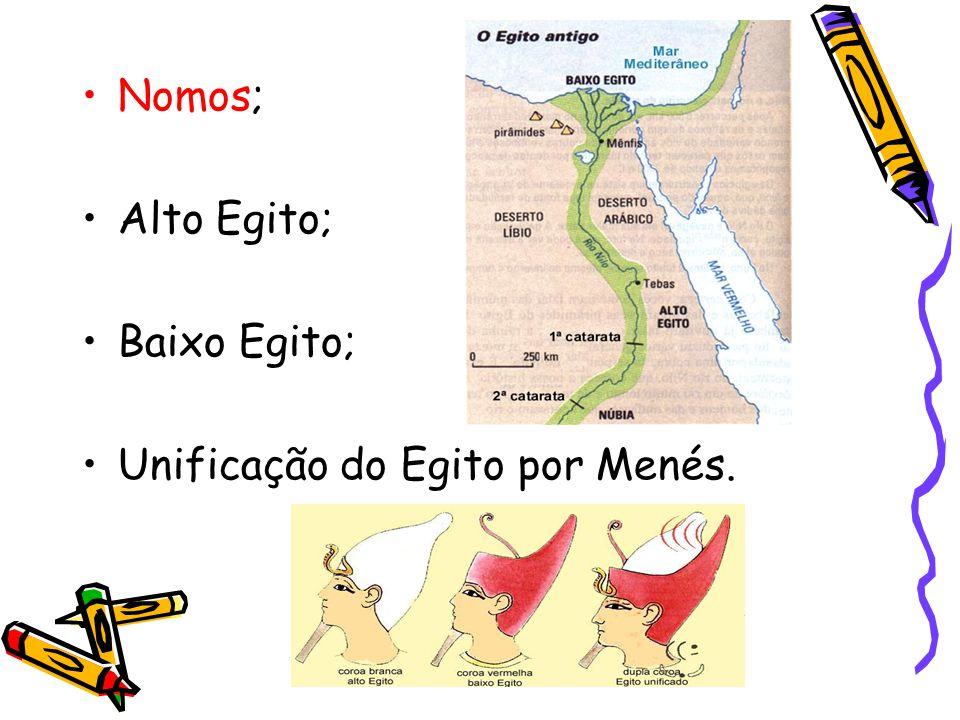 Nomos; Alto Egito; Baixo Egito; Unificação do Egito por Menés.