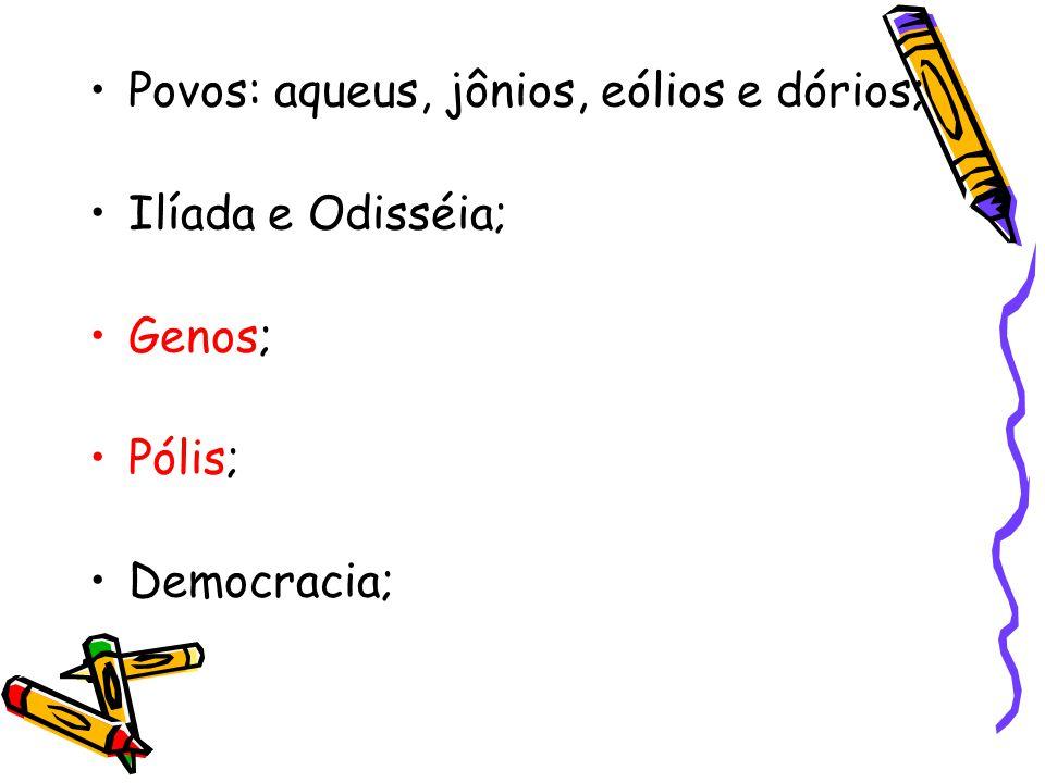 Povos: aqueus, jônios, eólios e dórios; Ilíada e Odisséia; Genos; Pólis; Democracia;