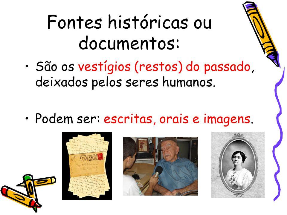 Fontes históricas ou documentos: São os vestígios (restos) do passado, deixados pelos seres humanos.