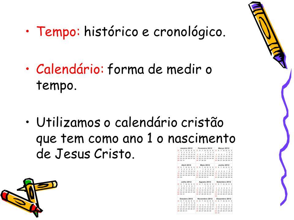 Tempo: histórico e cronológico.Calendário: forma de medir o tempo.