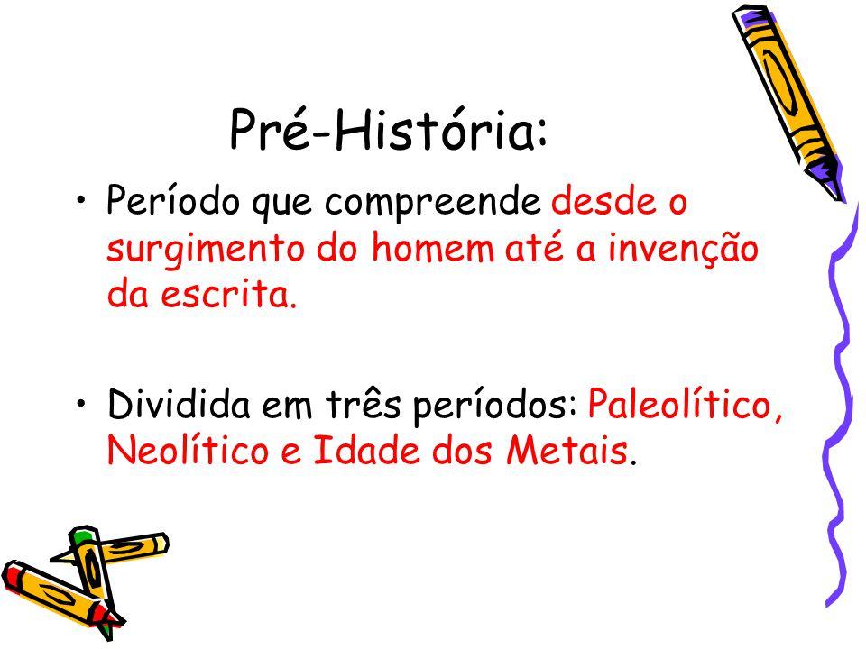 Pré-História: Período que compreende desde o surgimento do homem até a invenção da escrita.