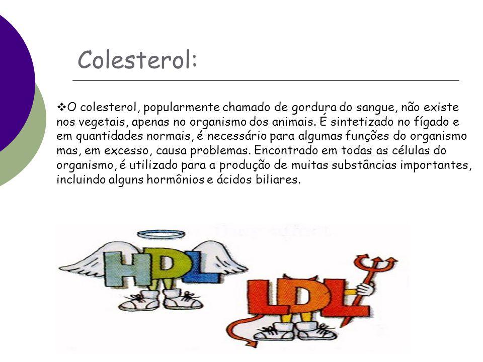 Colesterol:  O colesterol, popularmente chamado de gordura do sangue, não existe nos vegetais, apenas no organismo dos animais.