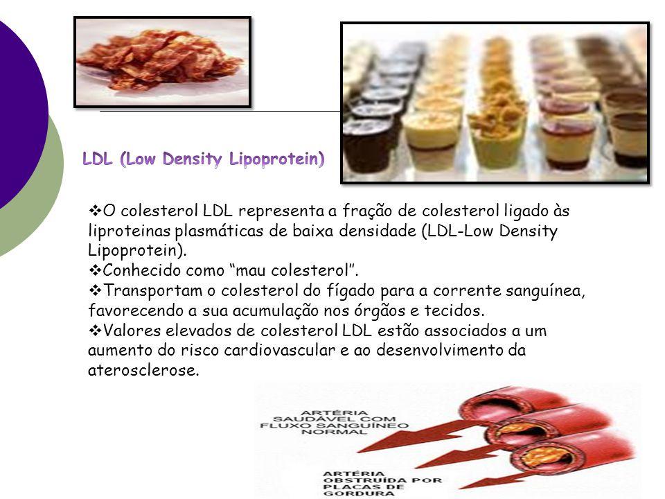  O colesterol LDL representa a fração de colesterol ligado às liproteinas plasmáticas de baixa densidade (LDL-Low Density Lipoprotein).