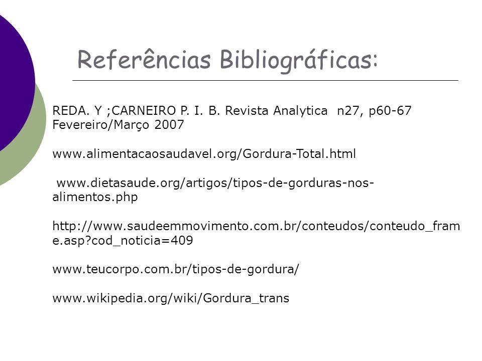 Referências Bibliográficas: REDA.Y ;CARNEIRO P. I.