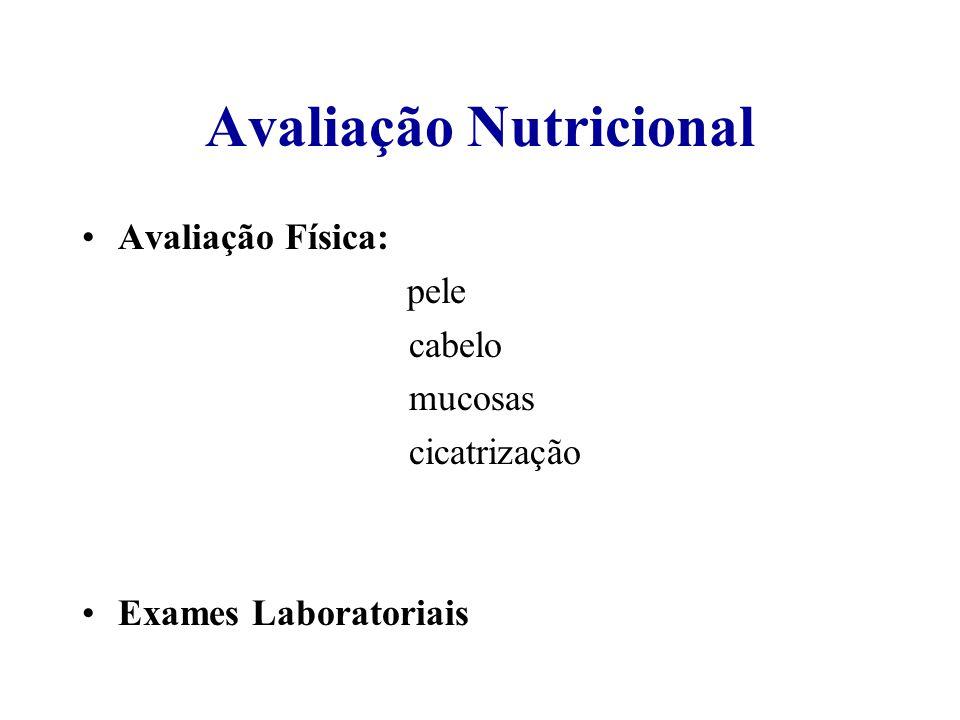 Avaliação Nutricional Avaliação Física: pele cabelo mucosas cicatrização Exames Laboratoriais