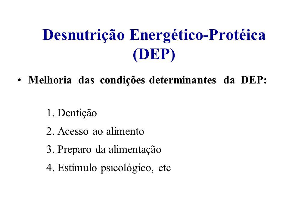 Desnutrição Energético-Protéica (DEP) Melhoria das condições determinantes da DEP: 1.