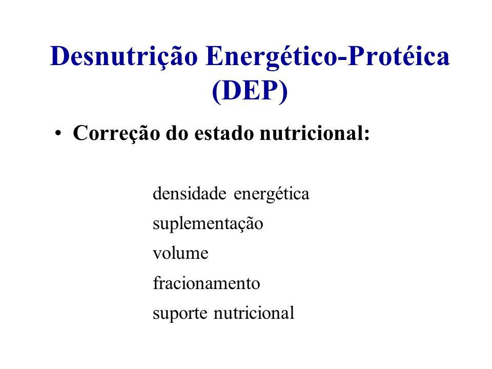 Desnutrição Energético-Protéica (DEP) Correção do estado nutricional: densidade energética suplementação volume fracionamento suporte nutricional