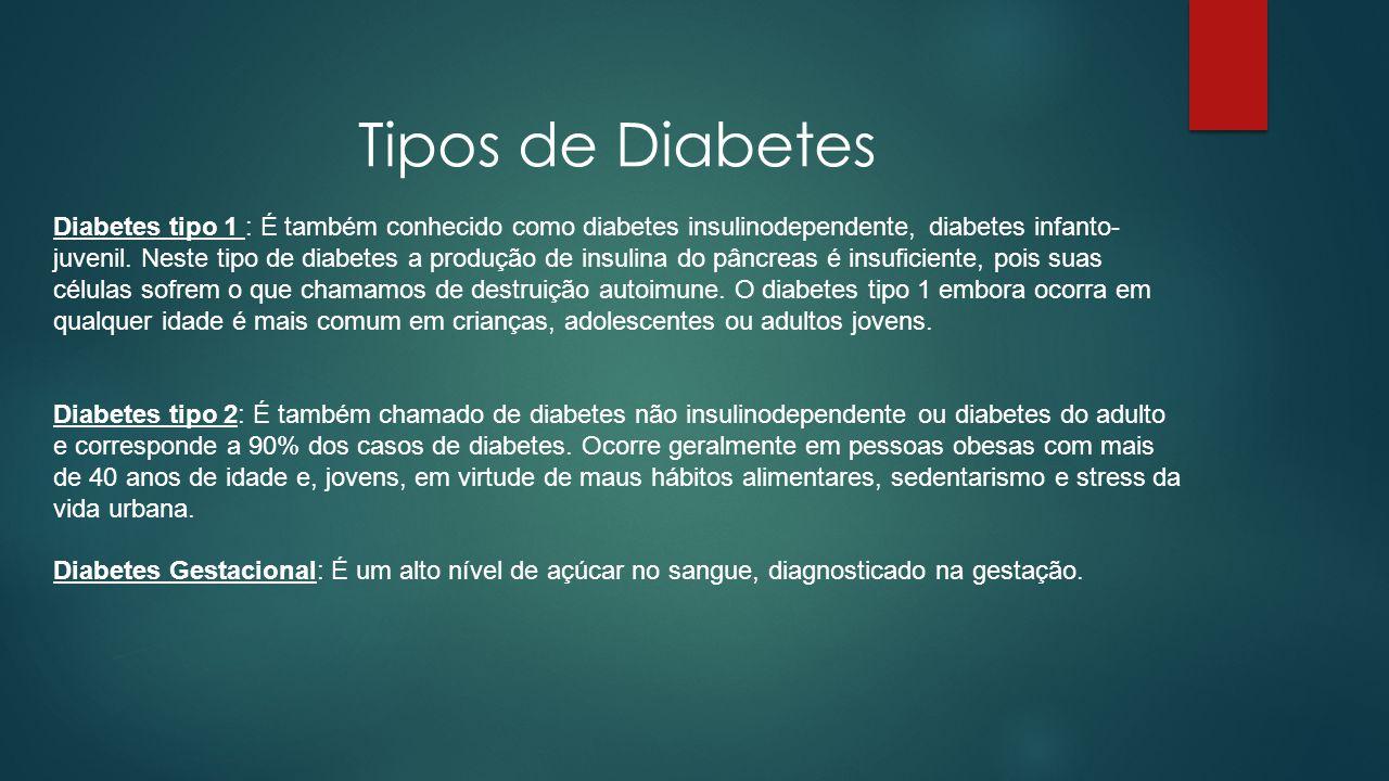 Tipos de Diabetes Diabetes tipo 1 : É também conhecido como diabetes insulinodependente, diabetes infanto- juvenil. Neste tipo de diabetes a produção