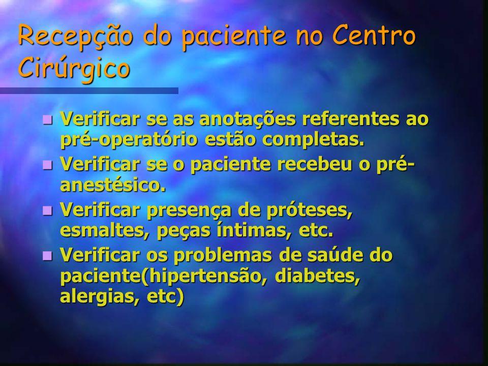 Recepção do paciente no Centro Cirúrgico Verificar se as anotações referentes ao pré-operatório estão completas.