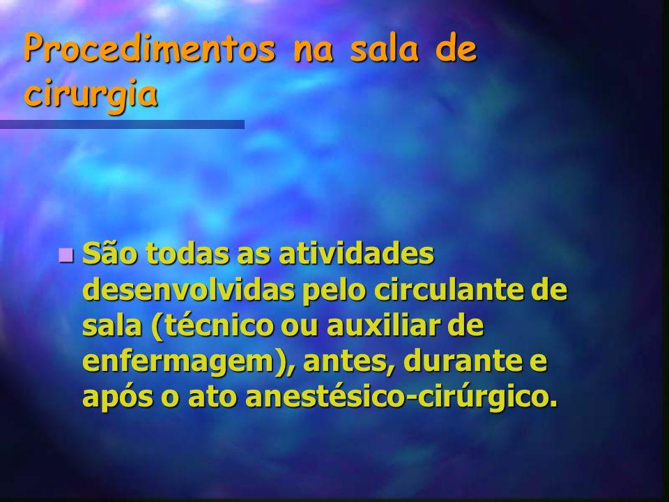 Procedimentos na sala de cirurgia São todas as atividades desenvolvidas pelo circulante de sala (técnico ou auxiliar de enfermagem), antes, durante e após o ato anestésico-cirúrgico.