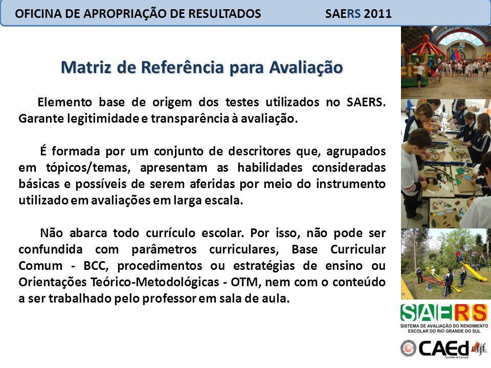 OFICINA DE APROPRIAÇÃO DE RESULTADOS SAERS 2011 Matriz de Referência para Avaliação Elemento base de origem dos testes utilizados no SAERS. Garante le