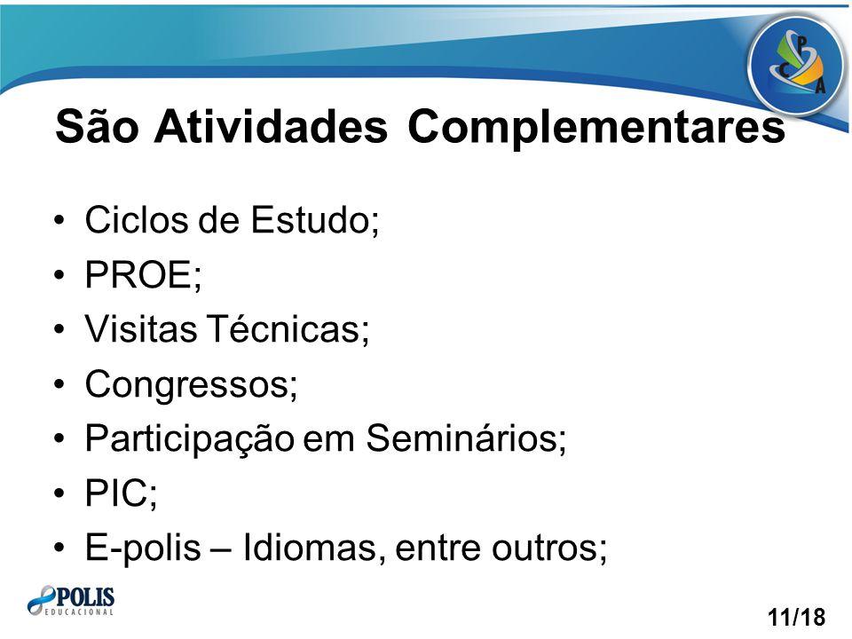 São Atividades Complementares Ciclos de Estudo; PROE; Visitas Técnicas; Congressos; Participação em Seminários; PIC; E-polis – Idiomas, entre outros; 11/18