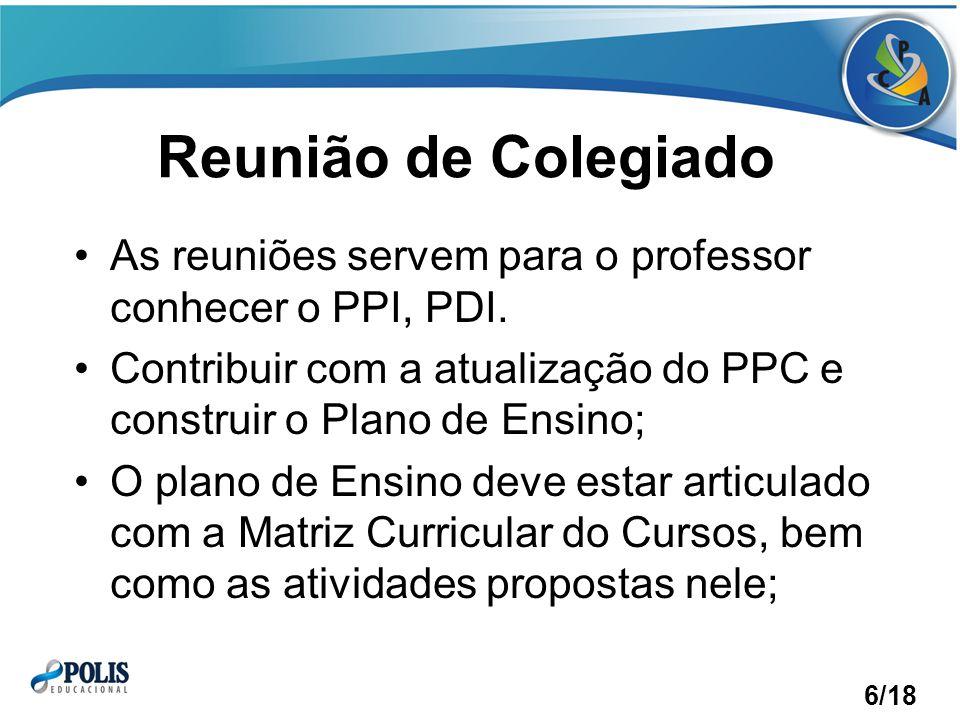 Reunião de Colegiado As reuniões servem para o professor conhecer o PPI, PDI.