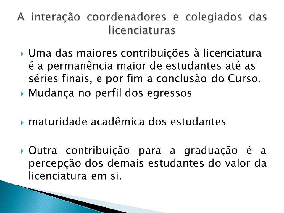  Uma das maiores contribuições à licenciatura é a permanência maior de estudantes até as séries finais, e por fim a conclusão do Curso.