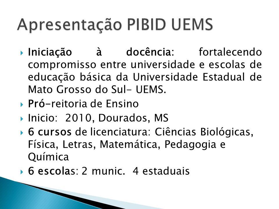  Iniciação à docência: fortalecendo compromisso entre universidade e escolas de educação básica da Universidade Estadual de Mato Grosso do Sul- UEMS.