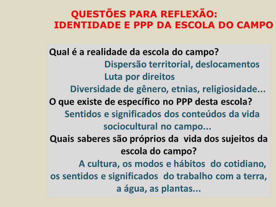 QUESTÕES PARA REFLEXÃO: IDENTIDADE E PPP DA ESCOLA DO CAMPO Qual é a realidade da escola do campo.