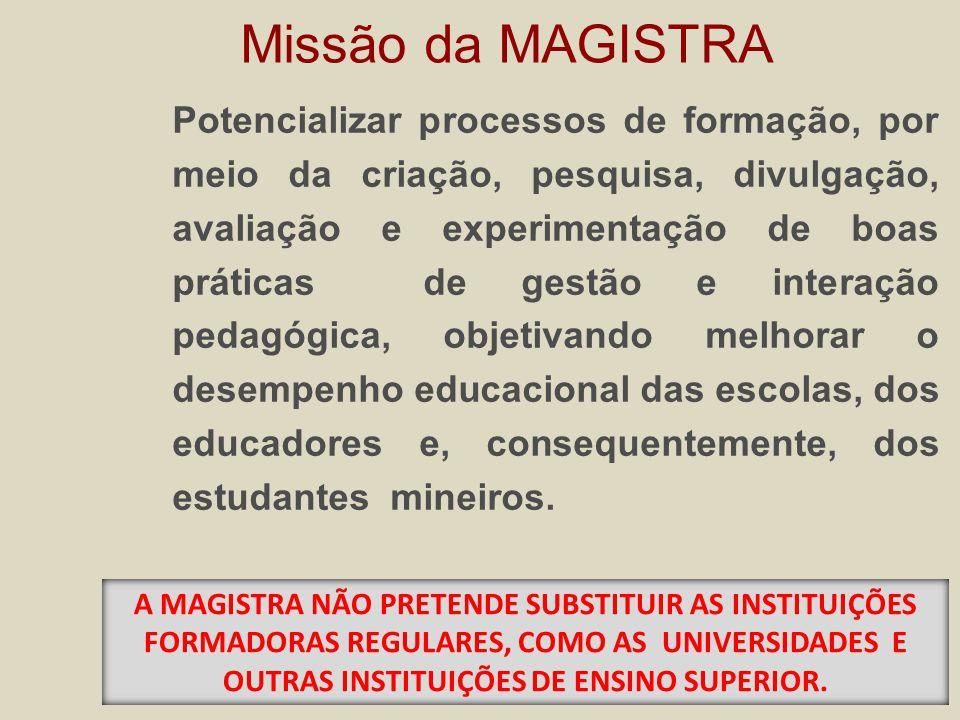 Potencializar processos de formação, por meio da criação, pesquisa, divulgação, avaliação e experimentação de boas práticas de gestão e interação pedagógica, objetivando melhorar o desempenho educacional das escolas, dos educadores e, consequentemente, dos estudantes mineiros.
