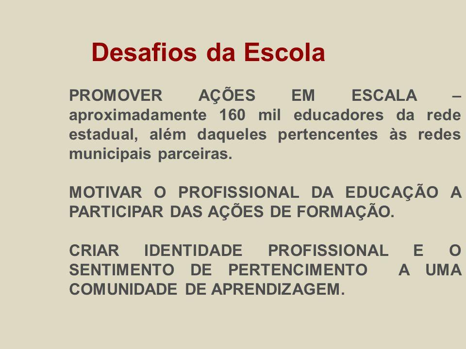 PROMOVER AÇÕES EM ESCALA – aproximadamente 160 mil educadores da rede estadual, além daqueles pertencentes às redes municipais parceiras.