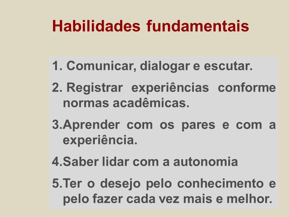 1. Comunicar, dialogar e escutar. 2. Registrar experiências conforme normas acadêmicas.
