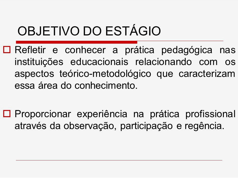 OBJETIVO DO ESTÁGIO RRefletir e conhecer a prática pedagógica nas instituições educacionais relacionando com os aspectos teórico-metodológico que ca