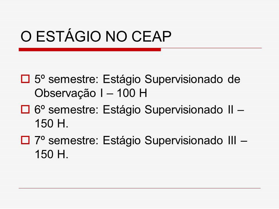 O ESTÁGIO NO CEAP 55º semestre: Estágio Supervisionado de Observação I – 100 H 66º semestre: Estágio Supervisionado II – 150 H. 77º semestre: Es