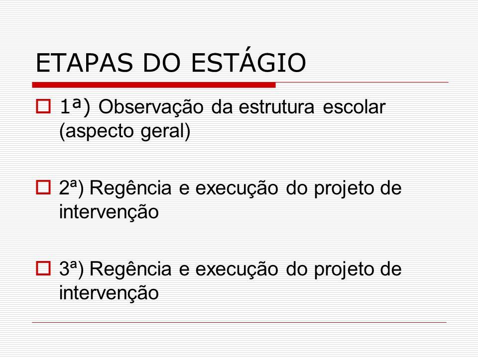 ETAPAS DO ESTÁGIO 11ª) O bservação da estrutura escolar (aspecto geral) 22ª) Regência e execução do projeto de intervenção 33ª) Regência e execu