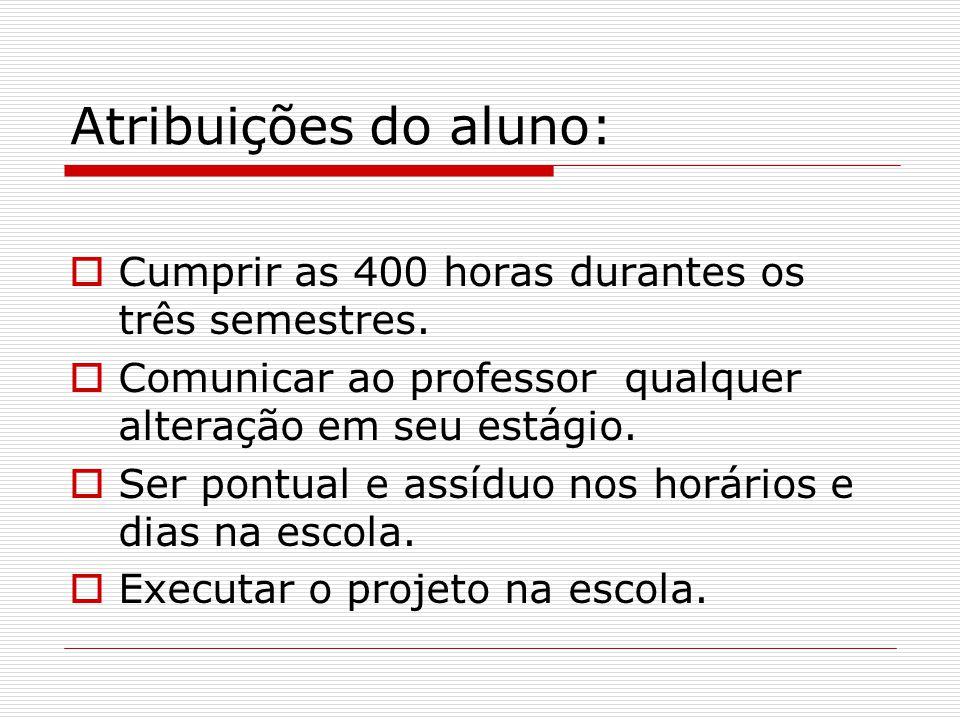 Atribuições do aluno: CCumprir as 400 horas durantes os três semestres. CComunicar ao professor qualquer alteração em seu estágio. SSer pontual