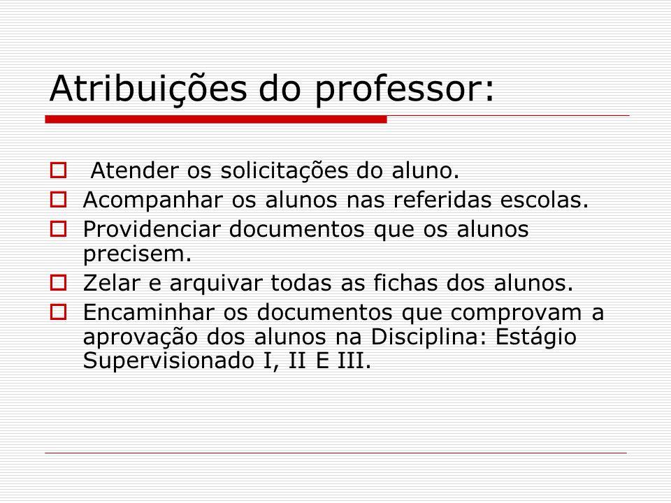 Atribuições do professor:  Atender os solicitações do aluno. AAcompanhar os alunos nas referidas escolas. PProvidenciar documentos que os alunos