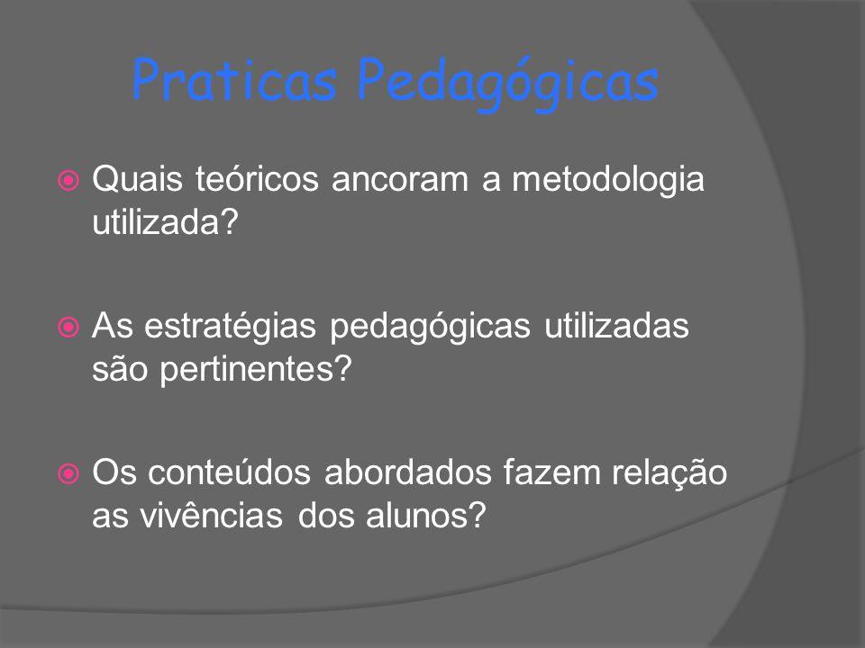 Praticas Pedagógicas  Quais teóricos ancoram a metodologia utilizada.