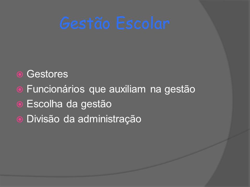 Gestão Escolar  Gestores  Funcionários que auxiliam na gestão  Escolha da gestão  Divisão da administração