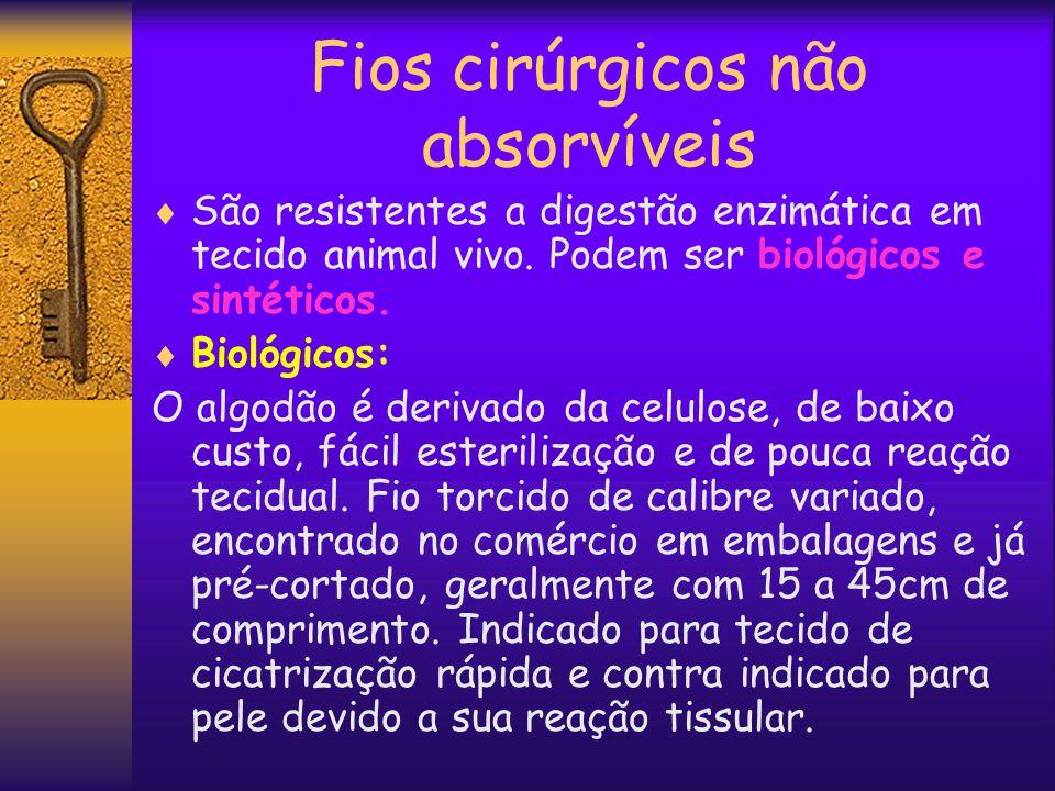 Fios cirúrgicos não absorvíveis  São resistentes a digestão enzimática em tecido animal vivo. Podem ser biológicos e sintéticos.  Biológicos: O algo