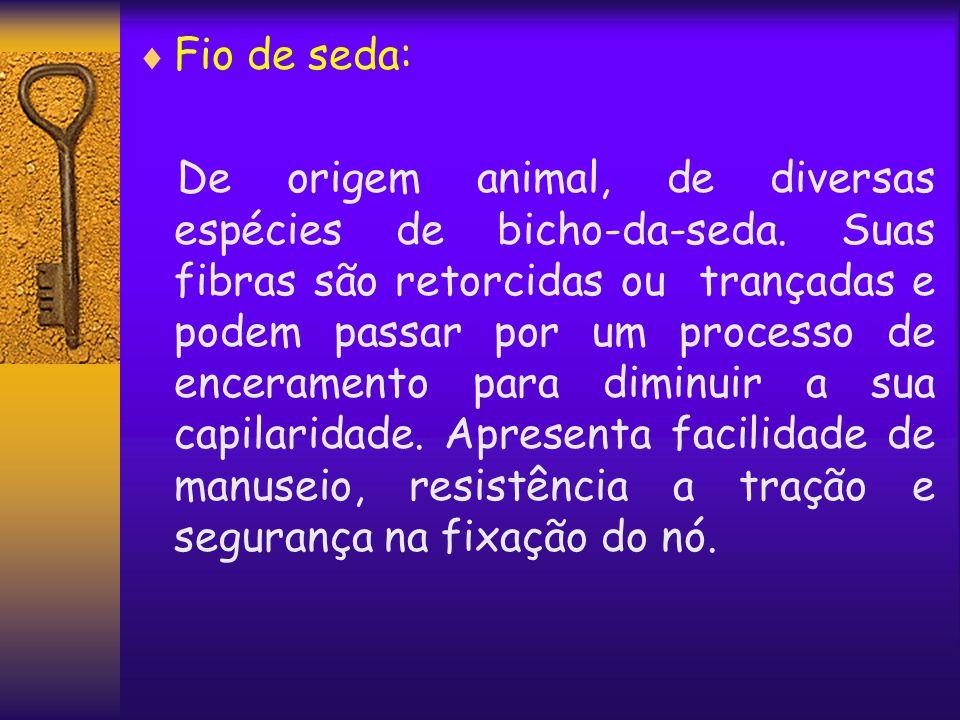  Fio de seda: De origem animal, de diversas espécies de bicho-da-seda. Suas fibras são retorcidas ou trançadas e podem passar por um processo de ence