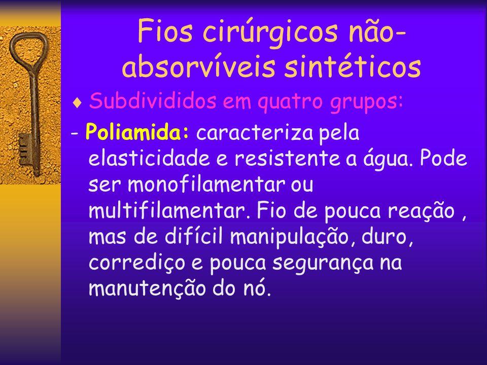 Fios cirúrgicos não- absorvíveis sintéticos  Subdivididos em quatro grupos: - Poliamida: caracteriza pela elasticidade e resistente a água. Pode ser