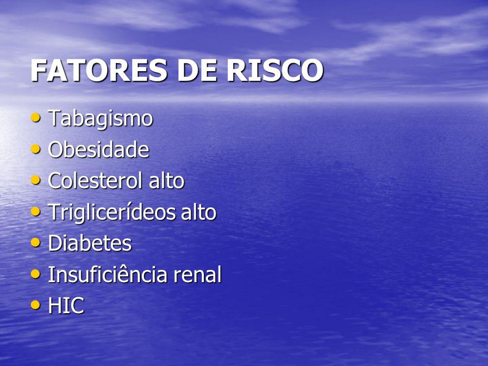 FATORES DE RISCO Tabagismo Tabagismo Obesidade Obesidade Colesterol alto Colesterol alto Triglicerídeos alto Triglicerídeos alto Diabetes Diabetes Ins